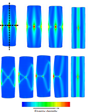 Localized and extended deformations of elastic shells