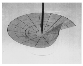 Conical surfaces and crescent singularities in crumpled sheets,